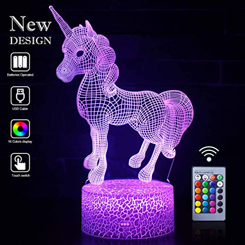 Unicorn 3D Night Lights Optical Illusion LED 16 Colors Lamps Light with Smart Touch&Remote Controller Bday Xmas Party Gifts for Girls Kids Home Decor Bedroom Desk Decorations (Unicorn Babe(Remote))