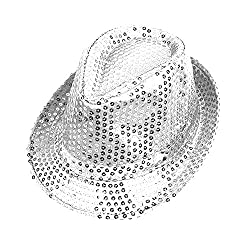 Silver Sequins With LED Flashlight Fedora hat