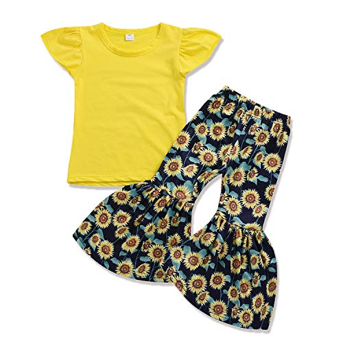 Toddler Bottom Pants - HESHENG Toddler Baby Kids Girl Outfit Ruffled Short Sleeve T-Shirt + Sunflower Bell-Bottom Pants Summer Clothes Set (Yellow, ♛Size:110♛ 3-4Y)