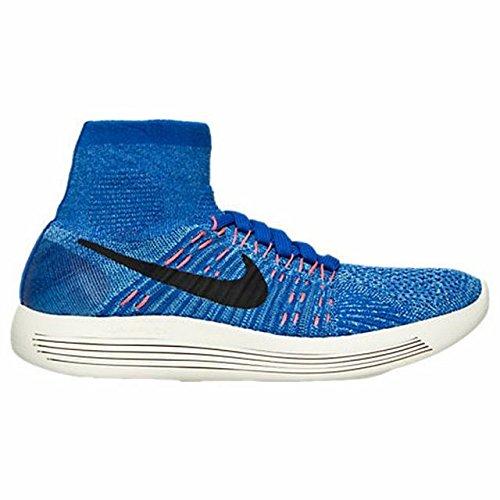 Nike Women's Lunarepic Flyknit Running Shoes (7, Rcr Bl/Blck-Univrsty Bl-Hypr Or)