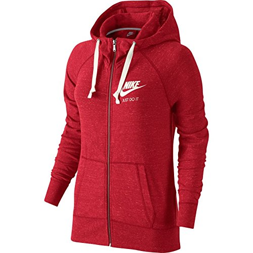 New Nike Women's Sportswear Gym Vintage Hoodie University Red/Sail Large