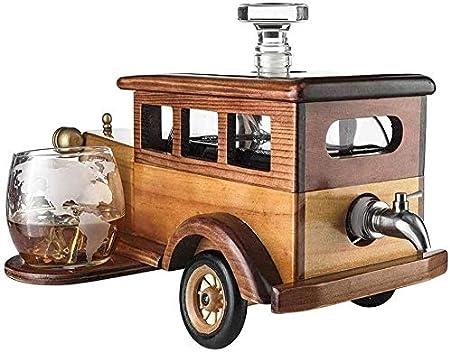 Botella Estante de Vino Estante de Vino Soporte de Copa de Vino Antiguo Coche de Moda Decantador de Whisky Conjunto con 2-10oz Whiskey Tumbler Viejo Moda Vidrios Antigua Moda Vintage Car 750ml De
