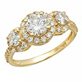 Clara Pucci 1.6 CT Round Cut Solitaire Anniversary Wedding Bridal PromiseEngagement Ring Pave Halo 14k Yellow Gold Bridal Band