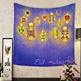 Madeleine Ellis Custom tapestry islamic muslim holiday blessing background or greeting card with oriental lamps and lanterns