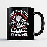 king cobra beer - Trucker Coffee Mug - Certified Badass Truck Driver - Funny 11 oz Black Ceramic Tea Cup - Cute Trucker Gifts with Truck Driving Sayings