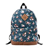 Epokris Girls Fashion Floral School Student Canvas Bag Backpack Blue Deal