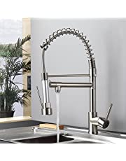 Fapully 100333 Contemporary Spring Single Handle Kitchen Sink Faucet with Pull Down Sprayer
