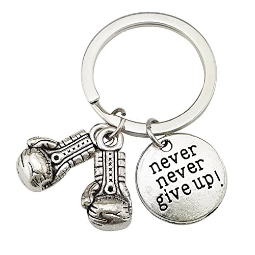 HAISWET Never Give Up Keychain Boxing Glove Keryring Purse Charm Purse Accessory