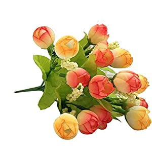Wakeu Artificial Roses, a Bouquet 15 Heads Fake Silk Flowers with Leaf for Bridal Wedding Bouquet for Home Garden Party Wedding Decor (Orange) 30