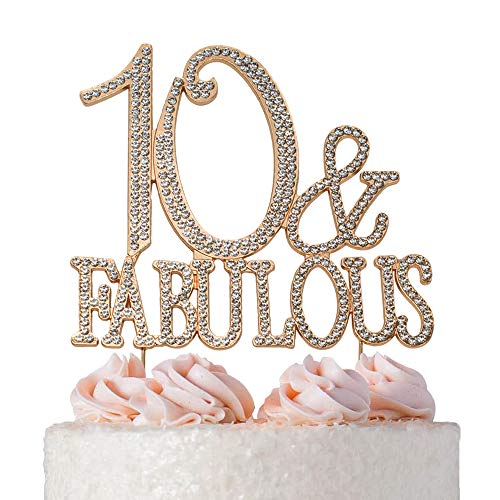 10 and Fabulous Cake Topper   ROSE GOLD   Premium Bling Crystal Rhinestone Diamond Gems   10th Birthday Party Decoration Ideas   Quality Metal Alloy   Perfect Keepsake (Tenth Birthday Candles)