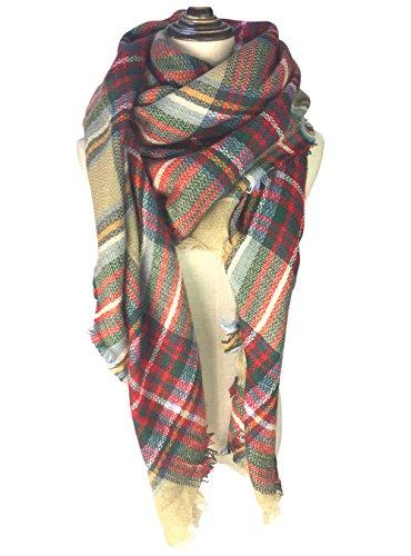 Womens Fall Winter Chunky Scarf Classic Tassels Soft Plaid Tartan Warm Scarves Gorgeous Wrap Shawl Large Blanket