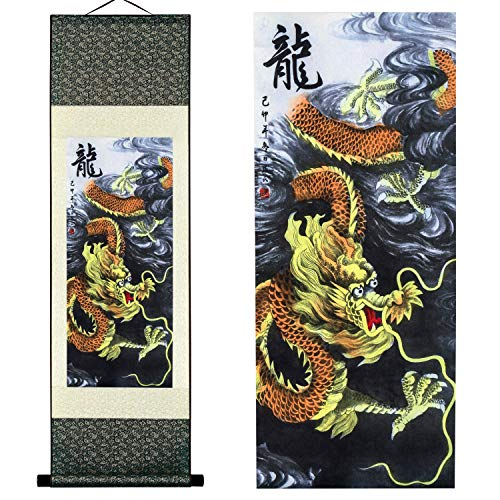 - UNIQUELOVER Asian Silk Scroll & Home Decorate Chinese Dragon Picture Scroll & Wall Scroll Hanging Artwork Painting