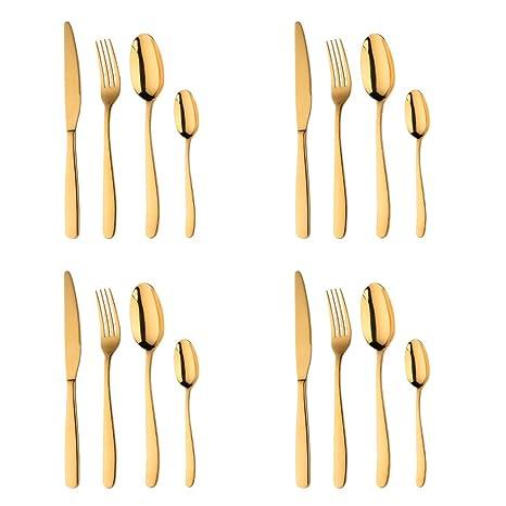Acero Inoxidable Dorado Vajilla, Bisda 16 piezas Cuberteria PVD Oro Set de Cubiertos Servicio para