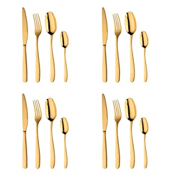 Acero Inoxidable Dorado Vajilla, Bisda 16 piezas Cuberteria PVD Oro Set de Cubiertos Servicio para 4: Amazon.es: Hogar