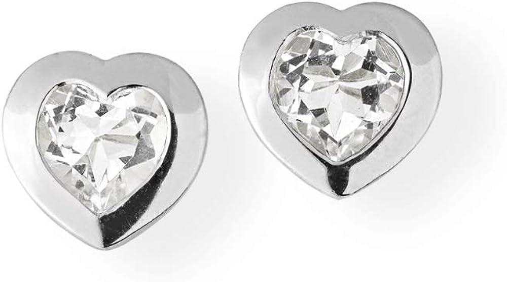 Drachenfels Pendientes de corazón pequeños de plata auténtica con cristal de roca de corazón de la colección Heartbreaker Stone, pendientes para mujer D HE 23-4/AG