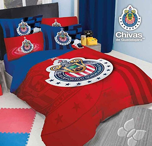JORGE'S HOME FASHION INC NEW PRETTY COLLECTION MEXICAN SOCCER CLUB CHIVAS ORIGINAL LICENSE TEENS BOYS COMFORTER SET AND SHEET SET 7 PCS FULL SIZE