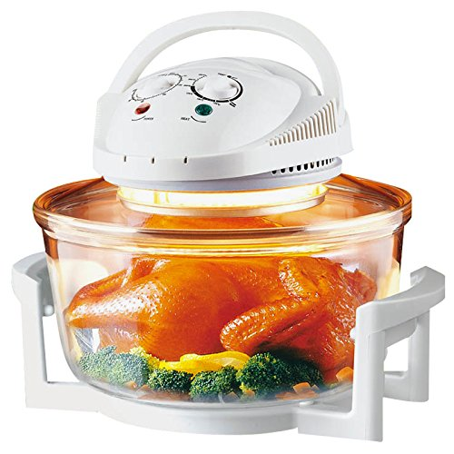Sentik 12 Litre Premium 1300W White Halogen Oven Cooker + FREE High Rack, Low Rack & Tongs