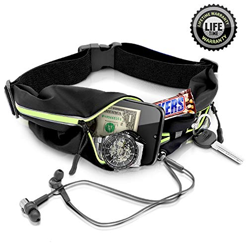 ISOPHO Running Belt Waist Pack Running Pouch Ultra Light Bounce Free Pouch Water Resistant Adjustable Runners Belt Outdoor Sweatproof Reflective Waist Pack iPhone Xr Xs Max X 8 7 Plus for Women Men
