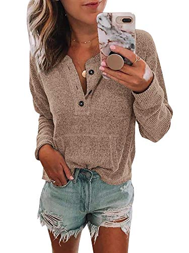 Womens V Neck Henley Shirts Pocket Ribbed Long Sleeve Button Down Tops Casual Loose Fit Tees Khaki