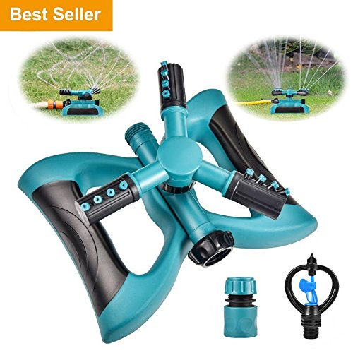 Lawn Sprinkler – Automatic 360 Rotating Adjustable Garden Hose Watering Sprinkler for Kids,3600 SQ FT Coverage Lawn Irrigation System with Leak Free Design Durable 3 Arm Sprayer, Easy Hose Connection