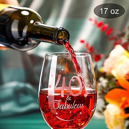 Copa de Vino sin Tallo de 40 and Fabulous Copa de Vino de 40 Cumpleaños de Oro Rosa Copa de Regalo de 40 Aniversario para Hombre Mujer Decoraciones de 40 Cumpleaños Aniversario Bodas, 17 oz