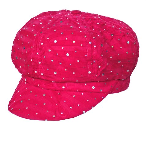 Chemo Hat Glitter Sequin Hot Pink Newsboy Fitted for Women with Cancer Chemo Hair (Pink Sequin Hat)