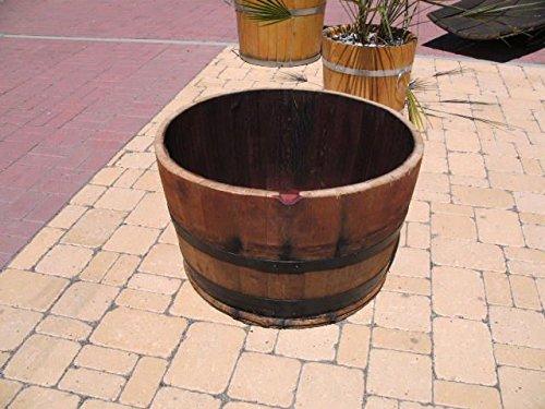 JUNIT 115L Eichenfasshälfte D.72cm,H.45cm Blumenkübel schwarze Ringe