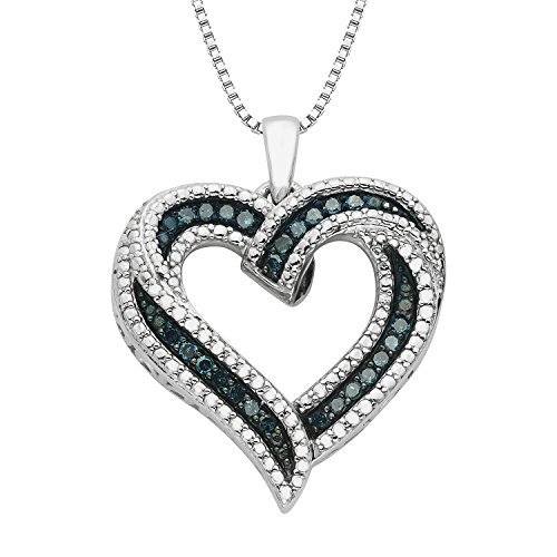 JewelExclusive Sterling Silver 1/4 cttw Blue Diamond Heart Pendant