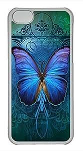 iPhone 5c case, Cute Beautiful Blue Butterfly iPhone 5c Cover, iPhone 5c Cases, Hard Clear iPhone 5c Covers