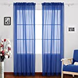 Deconovo Rod Pocket Drapes Solid Color Sheer Curtains Faux Linen Curtains Sheer Window Curtains for Baby Room 52W x 95L Inch Royal Blue 2 Panels