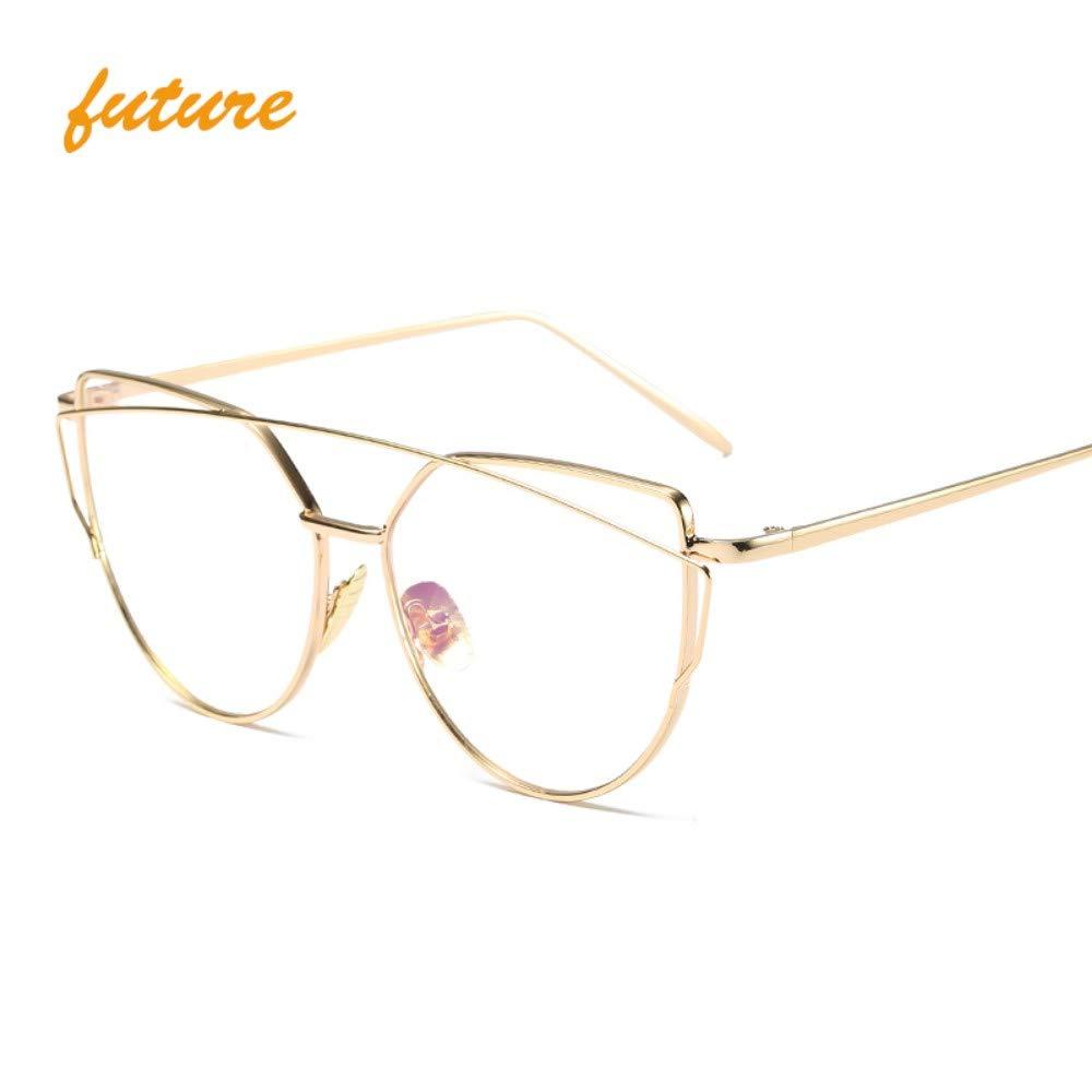 2463e42dce96f4 WDDYYBF Sonnenbrillen Sonnenbrille Cat Eye Vintage Designer Spiegel  Sonnenbrille Für Frauen Metall Reflektierende Flache Linse Sonnenbrille