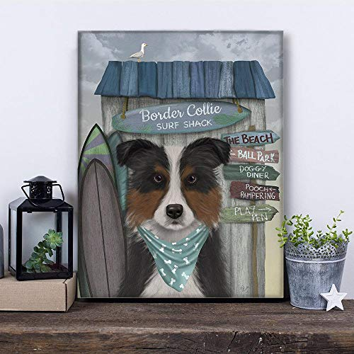 Gift for him - Border Collie Tricolor Surf Dog - Beach House Decor Summer Farmhouse British Made Gifts Wall Art on Canvas for him No-Frame