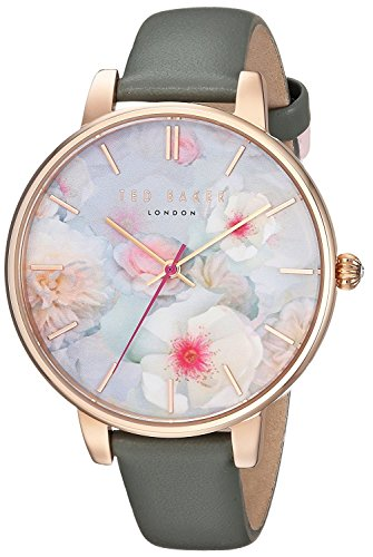 Ted Baker Women's 'KATE' Quartz Stainless Steel and Leather Casual Watch, Color Grey (Model: TEC0025007)