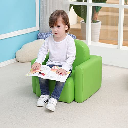 Emall Life Multifunctional 2in1 Children s Armchair Kids Wooden Frame Chair and Table Set CPSC Certified Boy s and Girl s Armrest Chair Easy to Clean Green