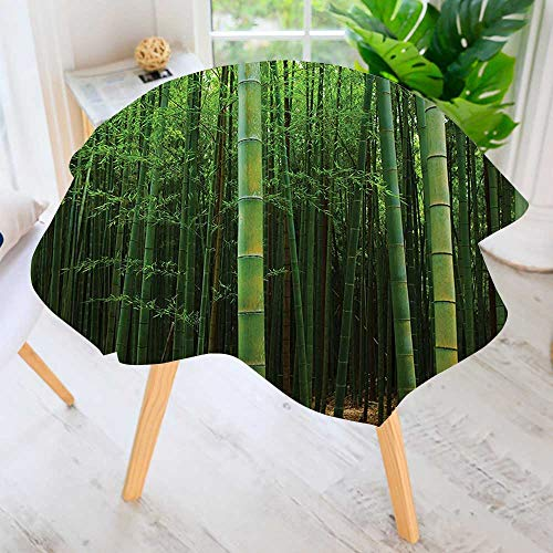 (UHOO2018 Hand Screen Printed Tablecloth-Picture of a Bamboo Forest Exotic Fresh Jungle Vision with Tall Shoots Tropic Modern Printed Spill Proof Cloth Round Tablecloths 63
