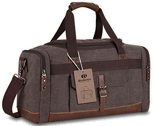 BLUBOON Overnight Bag Canvas Genuine Leather 18.9