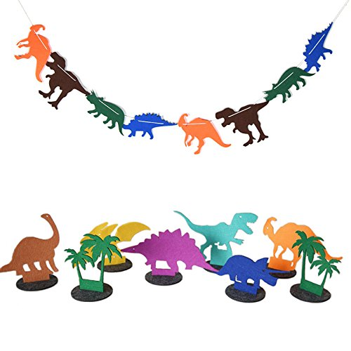 1 Set  Size Apprpx 5 X 6 Inches Fabric Tropical Rainforest Multicolored Pattern Dinosaur Decorations Room Birthday Party Club Salon String Banner Pennant With Table Dinosaur Decration