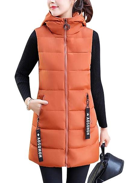 Chaleco Acolchado para Mujer Invierno Cremallera Chaqueta Sin Mangas Abajo Abrigos con Capucha: Amazon.es: Ropa y accesorios