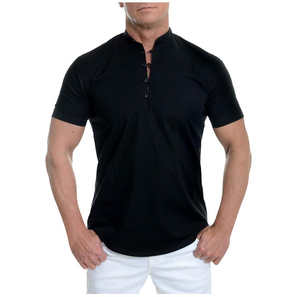 Mens Linen Shirts Beach Tronet Men's Short Sleeve Shirt Smart Grandad Collar Loops Cotton White Black Blouse by Tronet Men's tops