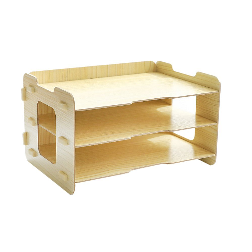 Omooly DIY 3 Tier Wood Desktop Letter Books Tray Storage Organizer Paper Stacking Trays Filing Organizer Desk Organizer Tray Paper Tray Letter Sorter Paper File Organizer Tray for Office Home