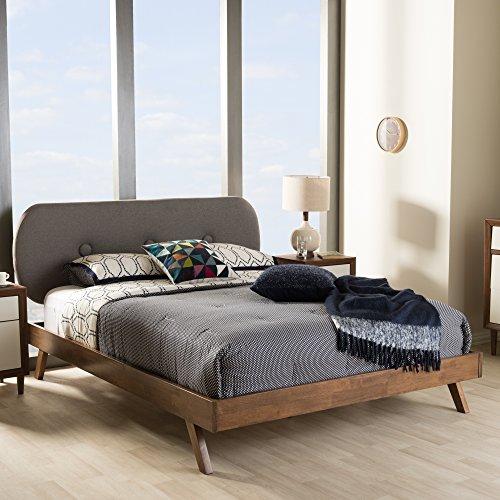 Baxton Studio Penelope Mid-Century Modern Solid Walnut Wood Grey Fabric Upholstered Queen Size Platform Bed