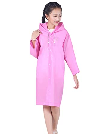60748308 Kids Fashion Rain Poncho Raincoat with Hood and Sleeves Reusable for Girls  Boys Dark Pink