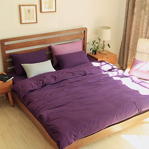 和風ニットコットン4ピースセット無地シンプルコットン良質さそり座綿キルトカバーシート無地 (Color : Purple, Size : XL) B07PQL8QZY