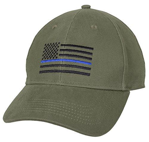 Rothco Thin Blue Line Flag Low Profile Cap, Olive Drab