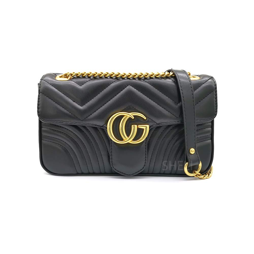 c213b6f6d23cf Amazon.com  Women Fashion Shoulder Bag Jelly Clutch Leather Handbag Quilted  Crossbody Bag with Chain  Clothing