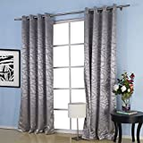 Cheap IYUEGO Jacquard Belonging Room Darkening Thermal Grommet Top Curtain Drapes With Multi Size Custom 42″ W x 84″ L (One Panel)
