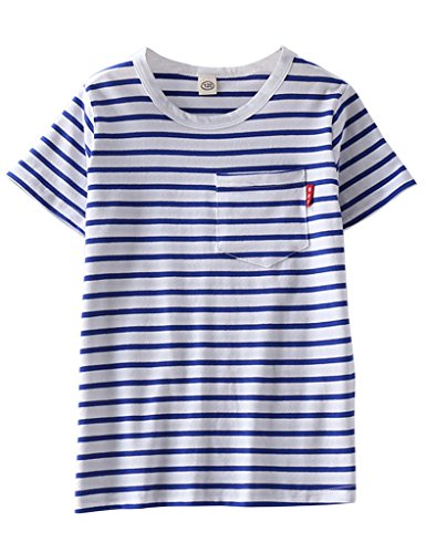 (ASHERANGEL Unisex Kids Classic Striped T-Shirt Girls Boys Crewneck Jersey Tee Blue&White Thin Stripes 7-8Y)
