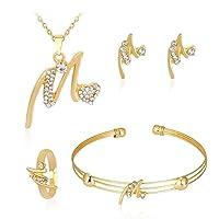 Liquidazione offerte, Fittingran Liquidazione offerte 4 pezzi gioielli set donne personalità strass collana bracciale anello orecchini gioielli regalo romantico