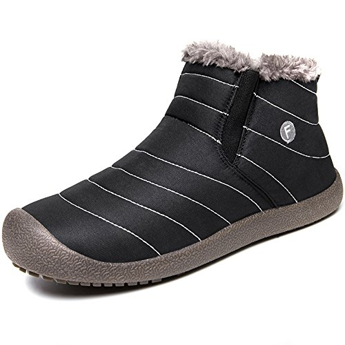 JACKSHIBO Women Men Fully Fur Lined Waterproof Anti-Slip Outdoor Slippers Ankle Boots House Slipper by JACKSHIBO