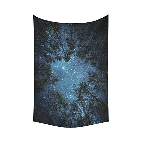 InterestPrint Beautiful Night Sky Wall Art Home Decor, the Milky Way and the Trees Tapestry Wall Hanging Art Sets 60 X 90 Inches